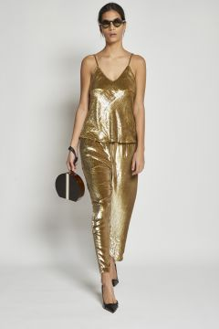 long gold trousers