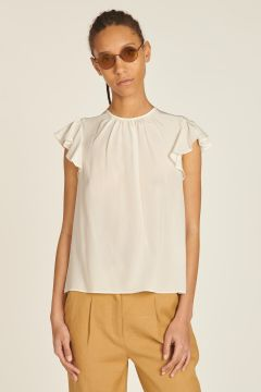 Short-sleeved crew neck shirt with rouches