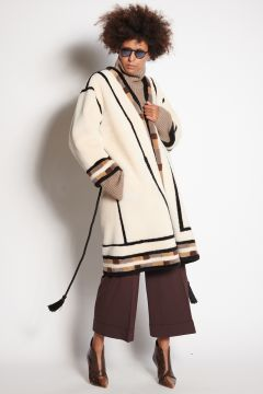 Ivory shearling fur coat with inlays