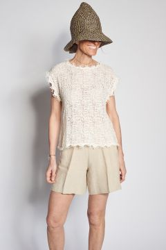 Pantaloncini beige in lino