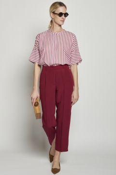 pantaloni con pinches in viscosa