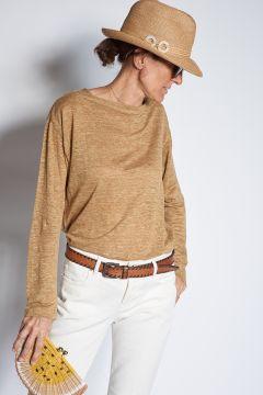 Long-sleeved T-shirt in ecru linen
