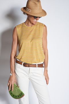 Sleeveless top with yellow stripes