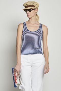 Blue and beige striped top