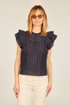 Blue Jie embroderie anglaise top