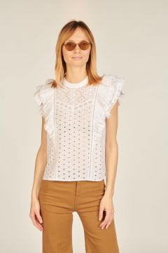 White Jie embroderie anglaise top