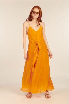 Long Orange Dress in silk blend