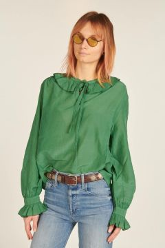 Green Shirt with Rouches
