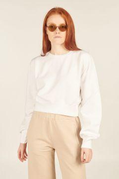 White Giorgia Cropped Sweatshirt