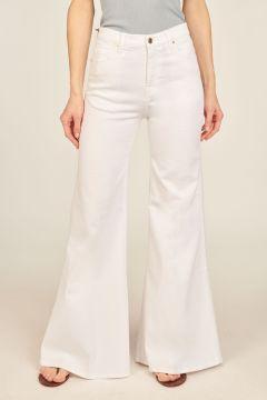 Pantaloni Anna in denim a zampa bianchi
