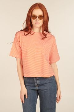 Orange and White Striped Boxy T-Shirt