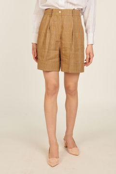 Linen blend Daisy checked Bermuda shorts