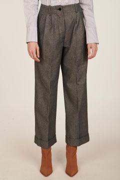 Pantalone grigio con pinces Simona