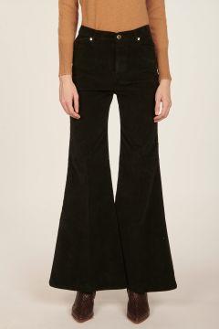 Pantalone nero in velluto a zampa Anna