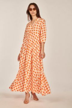 Long orange and white checked dress
