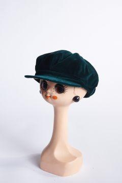 Green velvet flat cap