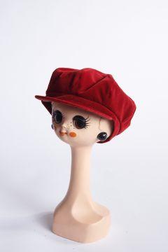 Red velvet flat cap