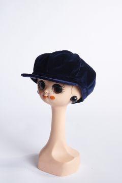 Blue velvet flat cap