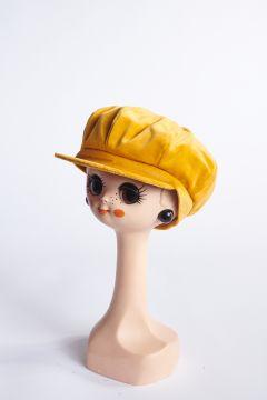 Yellow velvet flat cap