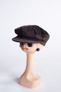 Brown ribbed velvet flat cap
