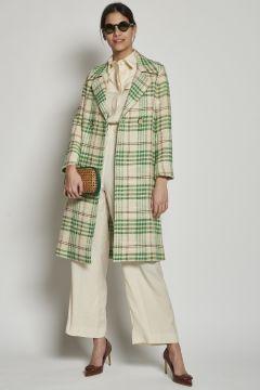 Green checked cream coat