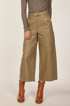 Wide leg leather