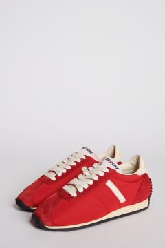 Red leather and nylon sneakers
