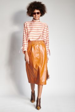 Faux leather leather skirt