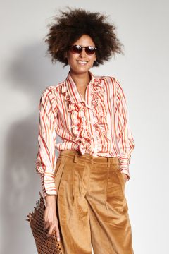 Pink and red striped shirt with rouches