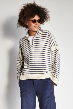 White and blue striped polo sweater