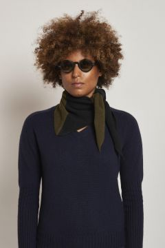 bicolor black and military green scarf