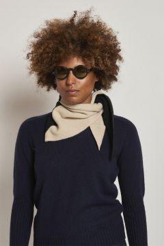 bicolor black and cream scarf