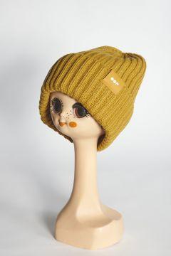 Cappello senape a coste