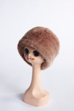 Cognac eco-fur tambourine hat