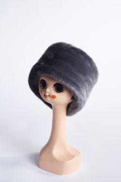 Tambourine hat in anthracite eco-fur