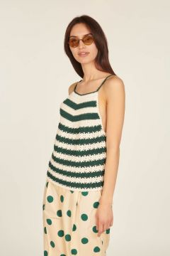 Handmade crochet top with green and white stripes