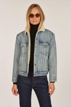 Giubbino in jeans con pelo