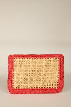 Red Raffia Clutch Bag