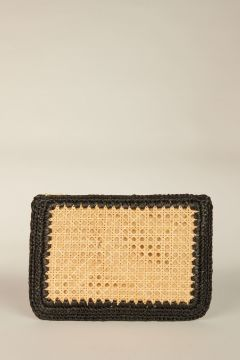 Black Raffia Clutch Bag