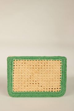 Green Raffia Clutch