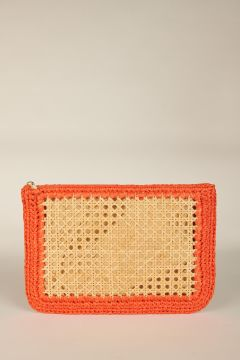 Orange Raffia Clutch