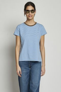 White and light blue striped t-shirts