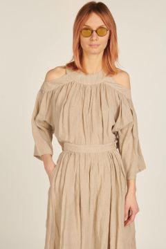 Camicia Sisine di lino con spalle scoperte
