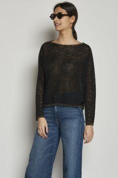Black T-shirt with lurex collar