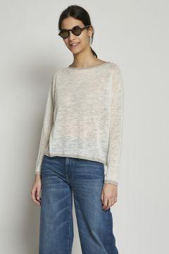 Ivory T-shirt with lurex collar