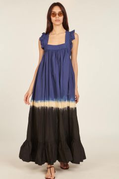 Blue tie dye Fillette long dress