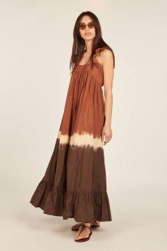 Brown tie dye Fillette long dress