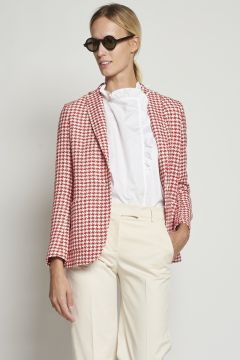 White and red houndstooth jacket
