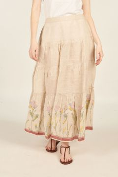 Hand-painted Larch long skirt
