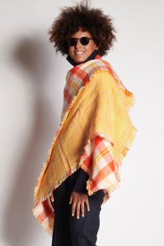 Scottish orange plaid stole